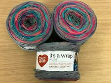 Red Heart It's a Wrap Hues - Grey, Pink, Blue Multi Stranded Yarn Cakes - 450g