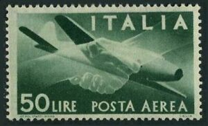 Italy C113,hinged.Michel 713. Air Post 1946.Plane,clasped hands.
