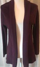 J.Jill Grape Cotton/Nylon blend rolled collar open front cardigan Sz Petite S