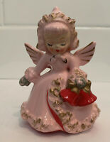 RARE Vintage Antique PINK HOLT HOWARD CHRISTMAS ANGEL CANDLEHOLDER SPAGHETTI