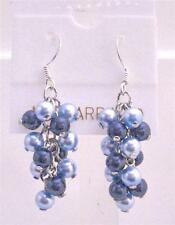 Swarovski Aquamarine Pearls Dark Blue Pearls Grape Style Earrings Jewelry