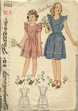 Vintage Simplicity 4963 Girls Dress & Pinafore Sewing Pattern Size 12