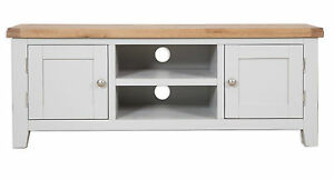 Canberra Grey/ Chunky Rustic Oak Top 2 Door Large TV Cabinet Fully Assembled