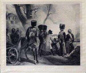 Gravure 19ème Napoléon à Montereau Premier Empire