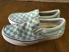 Vans Teal Checker Slip On Shoes Womens Size 7 Used