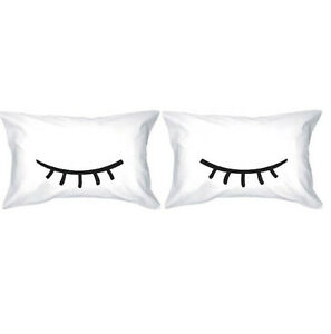 Couple White Pillow Cases - Sleeping Eyelash 100% Cotton 2pc