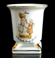 """Vintage Holly Hobbie White China Vase Gold Trim """"Love is the Little Things You D"""