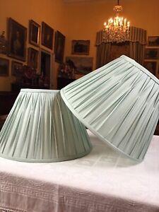 "Pair Blue Duck Egg Silk Pleated Laura Ashley Table Lamp Shades 9"" Tall Base 14"""