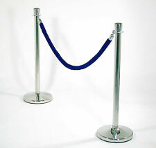 3 x Rope Barrier  + 2 x Blue Rope Stainless Steel Crowd Control Post