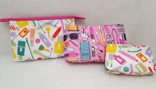 New Clinique Set of 3 Travel Weekend Home Makeup Theme Print Cosmetic Bags