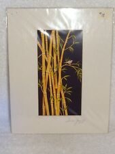 Hand Signed Matted Print- Susan Jump- Colorful Bird in Cane Patch- Usa