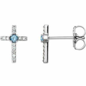 Aquamarin & .06 Karat Diamant Kreuz Ohrringe Sterlingsilber