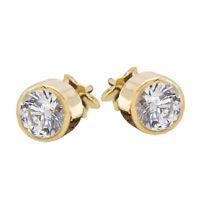 2ct Round Cut Bezel Set White Diamond 14k Yellow Gold FN Solitaire Stud Earrings