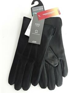 M&S Mens Medium Black Genuine Leather Gloves with Thermowarmth (RRP £25)