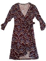 BASQUE Size 14 3/4 Sleeve Multicoloured V Neck Stretch Knee Length Dress Tie