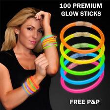 """100 Glow Sticks 8"""" Neon Bracelets Necklaces Party Favour Festivals Disco Rave UK"""