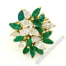 VINTAGE 18ct Oro Amarillo 4.50ctw Esmeralda & Diamante Grande Cóctel Anillo