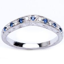 .18ct 14kt White gold Blue Sapphire & Diamond Anniversary Wedding Band