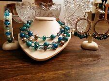 "Beautiful necklace, earrings and bracelet ""Calypso"" set"