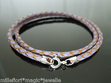 """3mm Purple Braided Leather & Sterling Silver Necklace Or Wristband 16"""" 18"""" 20"""""""