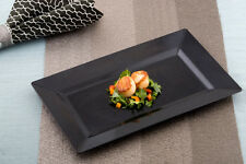 """Elegant Plastic Black Rectangle 12"""" by 7.5"""" Lunch / Dinner Plates 120ct  By Emi"""
