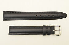 18mm watch band STRAP  BLACK   genuine leather Long padded