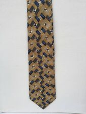 Jaeger Mens Tie  Mustard Yellow, Blue & Red design, 100% Silk, Made in Italy