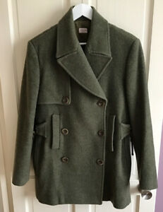 Vintage 90s ⭐️Paul Smith Women Size 12 Green Wool Double Breasted Jacket Coat
