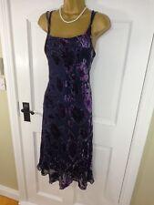 Laura Ashley Purple Beaded Floral Silk Blend Dress, UK 14, Excellent Condition