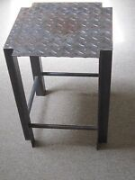 Vintage Industrial Welded Metal Stool Pittsburgh Steel Plate Salvaged Recycled!