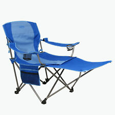 Kamp-Rite Outdoor Camping Beach Patio Folding Chair w/ Detachable Footrest, Blue