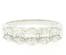 NEW 14k White Gold Marquise & Baguette 1.58ctw FINE Diamond Band Ring