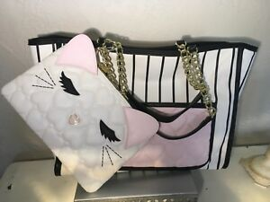 Betsey Johnson Sweet Kitty Embossed 2-piece Handbag Be Mine Collection Heart New