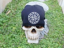 black sun w/ center sun rune embroiderd beanie hat thors hammer asatru norse