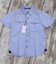 Paper Denim & Cloth Boys NEW Size 8 Blue Polo Dress Shirt Micro Striped
