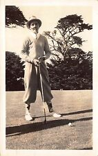 Real Photo Postcard Comic Golfer Wearing Fake Mustache Smoking Cigar~112366