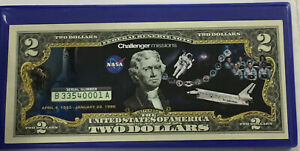 $2 Colorized Commemorative Federal Reserve Note ~  Challenger