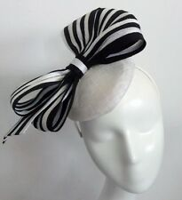 Ladies Black & White Fascinator ,Striped,Race,Weddings,Formals,Party,Millinery