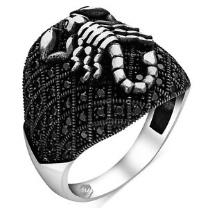 Solid 925 Sterling Silver Black Micro Stone Scorpion Men's Ring