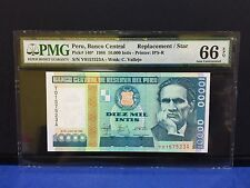 "1988 Peru, Branco Central 10,000 Intis ""REPLACEMENT/STAR"" PMG 66 EPQ"