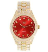 Men Ice Watch Bling Rapper Simulate Diamond Metal Band Gold Hip Luxury Cubic RED