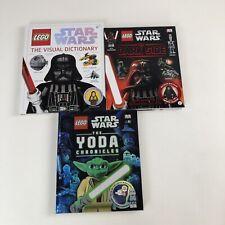 Lot of 3 DK Star Wars LEGO Books w/Minifigures Emperor Palpatine Luke Skywalker