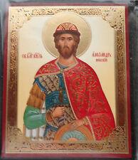 Russian wood icon St    Alexander Nevsky / Nevskiy /