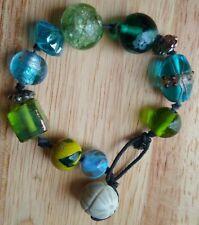 Vintage Murano Art Glass Beads Cord Handmade Bracelet
