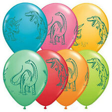 "**QUALATEX**  Pack of 12 - 11"" Round Dinosaurs In Action Latex Balloons!"