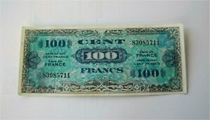 1944 France 100 Francs Banknote Allied Military Money WW II KM 118a