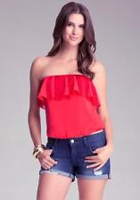 BEBE RED FRINGE STRAPLESS TUBE TOP SHIRT NEW NWT TOP MEDIUM M