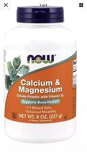 NOW FOODS CALCIUM MAGNESIUM Citrate Powder 8 OZ Vit D FAST Shipping