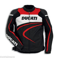Ducati Red Striped Leather Armoured Motorcycle Jacket