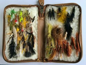 Assorted Variety Used Fly Fishing Flies in Case (About 45 Flies) Estate Rescue